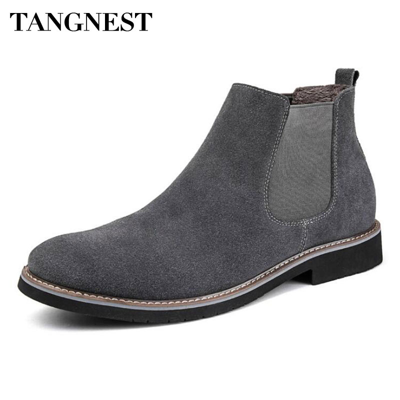Tangnest NEW Winter Chelsea Boots For Men British Style Suede Leather Ankle Boots Casual Warm Plush Platform Shoes Man XMX879