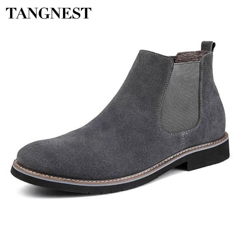 € 22.97 50% de réduction Tangnest nouveau hiver Chelsea bottes pour hommes Style britannique en daim cuir bottines décontracté chaud en peluche plate