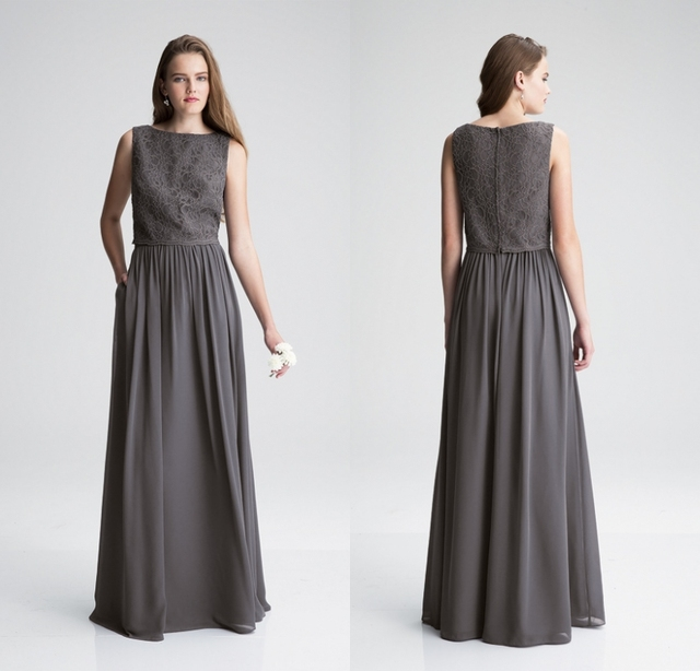 1f7c351dd34 Grey Long Modest Bridesmaid Dresses 2019 Sleeveless Lace Top Chiffon Skirt  Country Formal Maids of Honor Gowns Floor Length