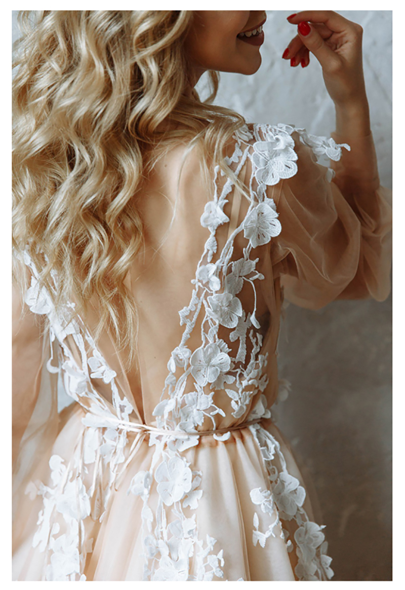 LORIE Princess Wedding Dress Champagne Appliqued with Flowers Tulle Puff Sleeve Boho Wedding Gown V Neck