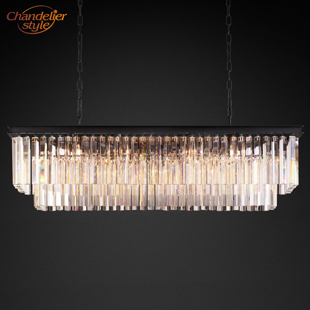 1920s Odeon Clear Glass Fringe Rectangular Crystal Chandelier Lighting Modern Retro Nordic Chandelier Hanging Light Fixture