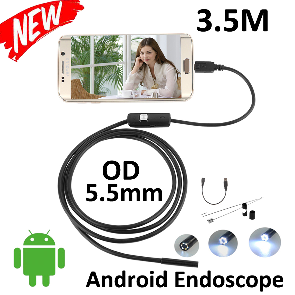 10pcs/lot 5.5mm Android Phone OTG USB Endoscope Camera Snake Tube inspection  IP67 Waterproof  micro USB Borescope Camera gakaki 7mm lens usb endoscope borescope android camera 2m waterproof inspection snake tube for android phone borescope camera