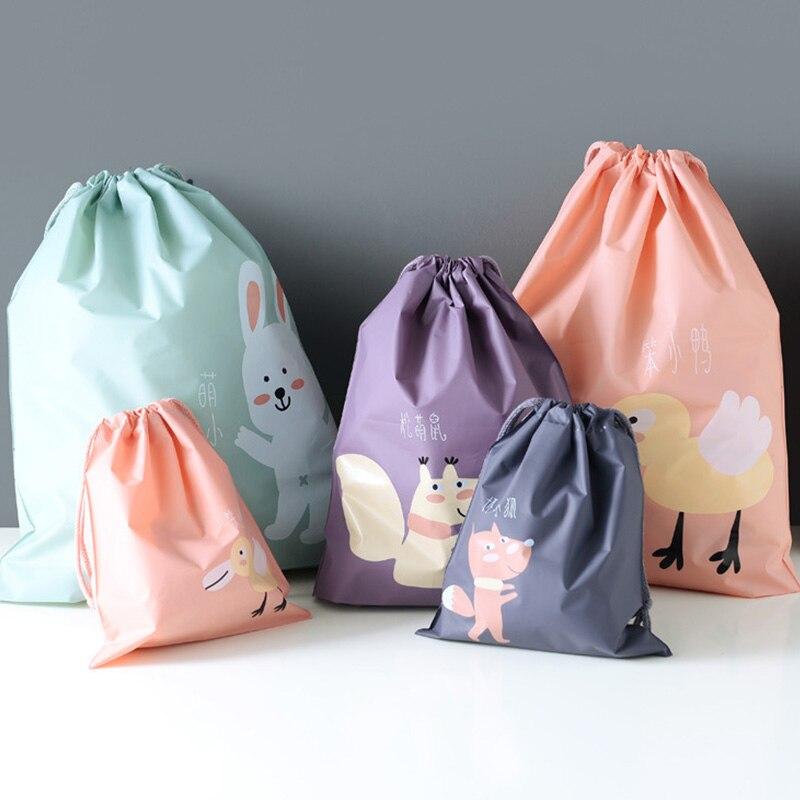 1pcs Waterproof Cartoon Animals Printed Storage Bags Baby clothes Toys Organizer Drawstring Cosmetic Bag portable snacks Bag