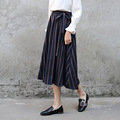 Yichaoyiliang Blue Vertical Striped Midi Skirt Sash Preppy Style Sweet Mid-Calf Length High Waist Slim Long A-line Skirt