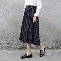 Yichaoyiliang azul listrado midi saia faixa vertical estilo preppy sweet mid-bezerro comprimento alta cintura fina longo de uma linha saia