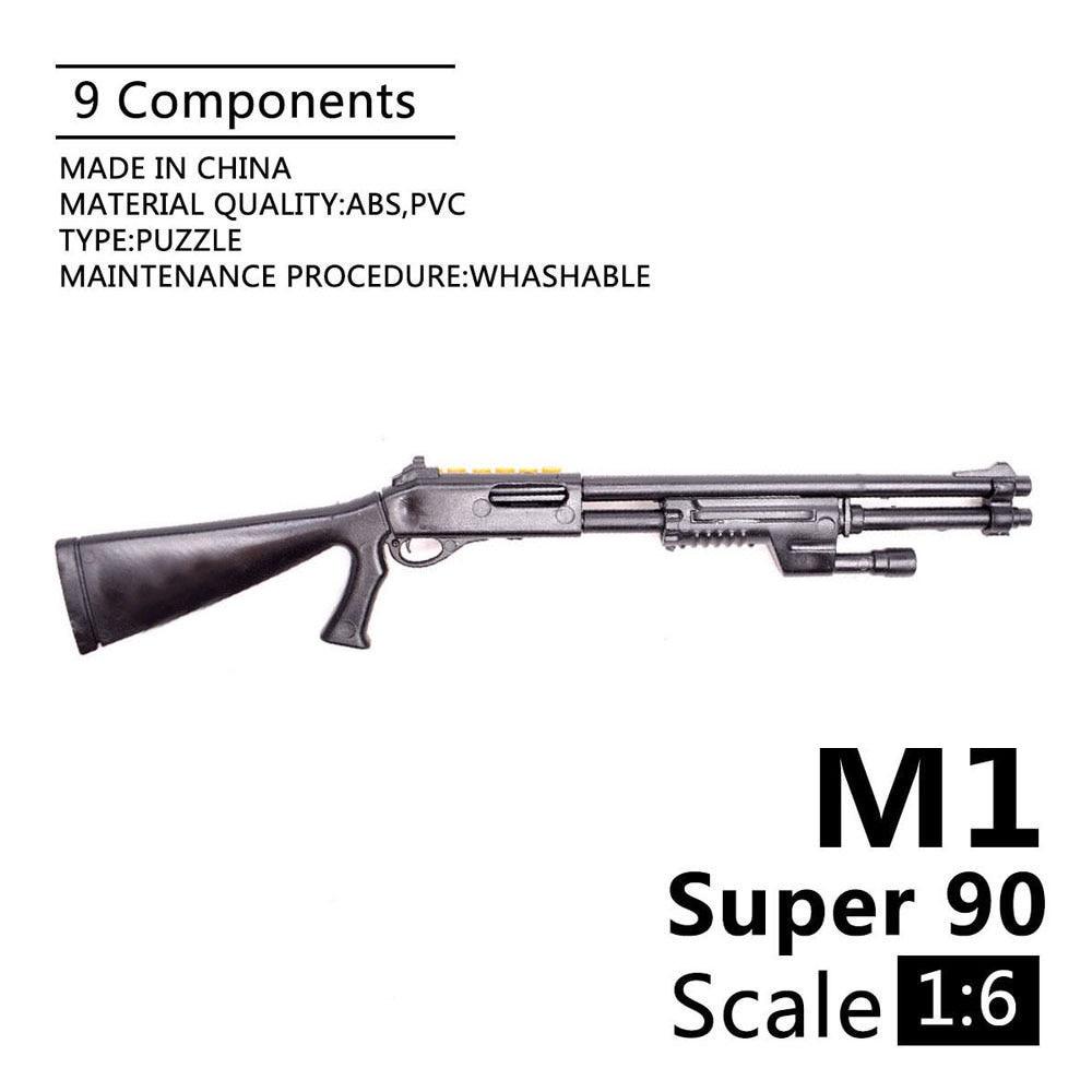 1:6 Benelli M1 SUPER 90 Shotgun 1/6 Soldier Weapon Assembling Gun Model For 12