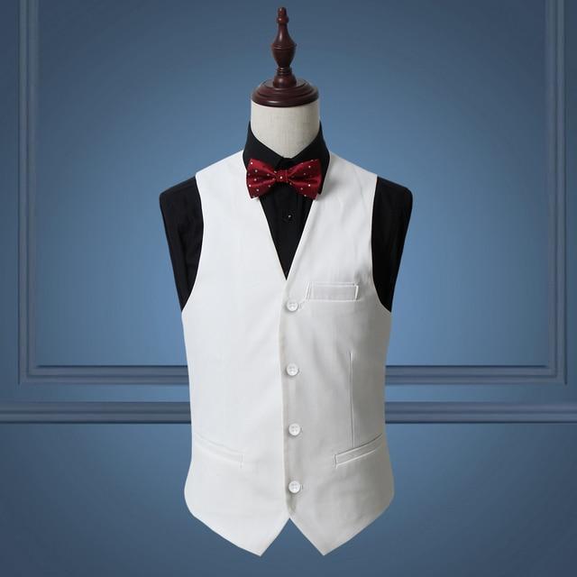 Solid traje hombres chaleco vestido blanco rojo slim fit hombres ropa de la  boda formal negocios f5e352b4dcd