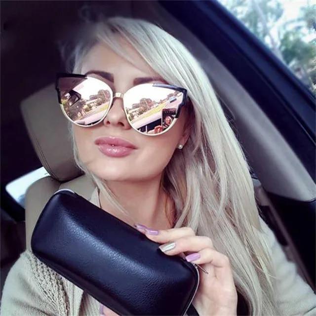 2019 Fashion Women Luxury black Cat Eye Sunglasses Elegant Pink Mirror Oversized Sun Glasses For Driving Female Gafas