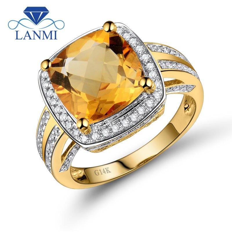 Lanmi Fine Bijoux Anneaux Vintage Coussin 10mm Citrine Et Diamants 14 k Or Jaune Naturel Anneau de Pierre Gemme Pour vente WU031