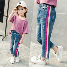Infant Girls Jeans Fashion Tassels Denim Pants Kid Straight Spliced Jeans High Quality Cotton Children Casual Korean Trouses