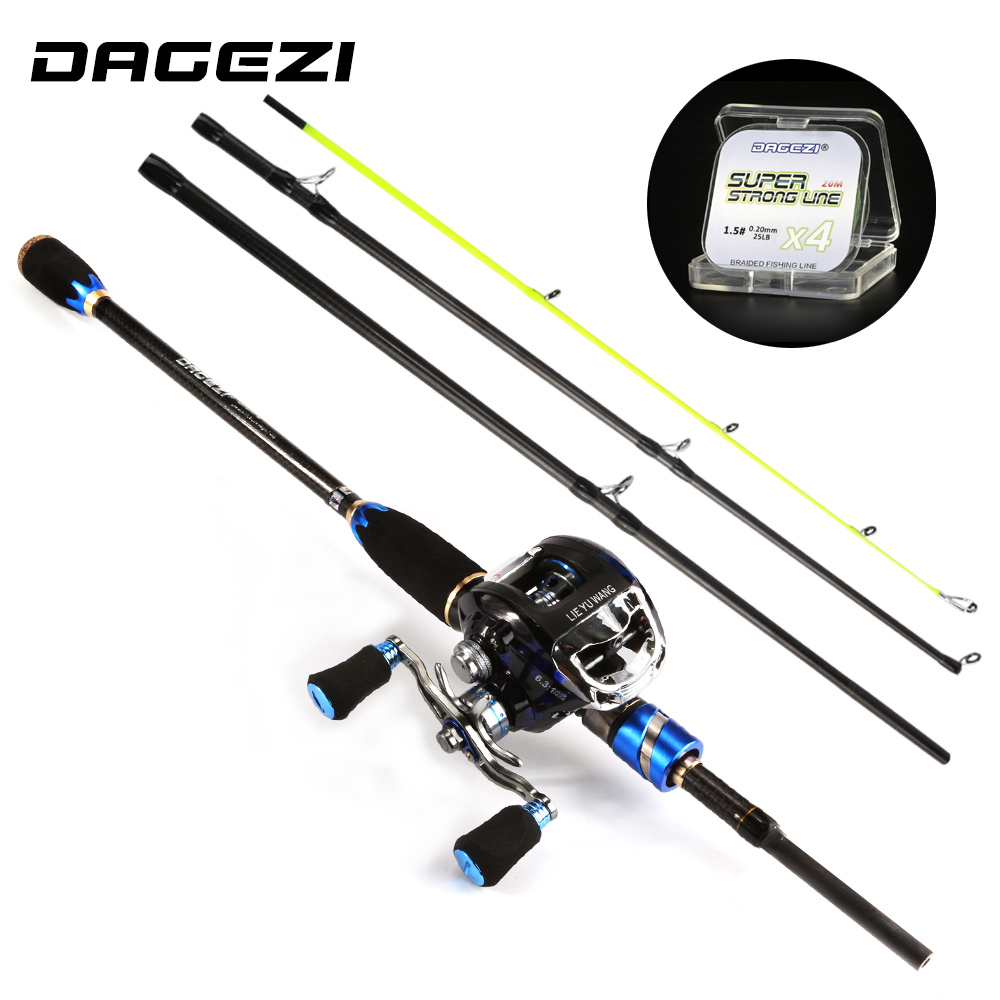 DAGEZI Lure Fishing Rod +Baitcasting reel Spinning Fishing wheel lure Rod combo 1.8m/2.1m casting rod+reel fishing tackle nunatak original 2017 baitcasting fishing reel t3 mx 1016sh 5 0kg 6 1bb 7 1 1 right hand casting fishing reels saltwater wheel