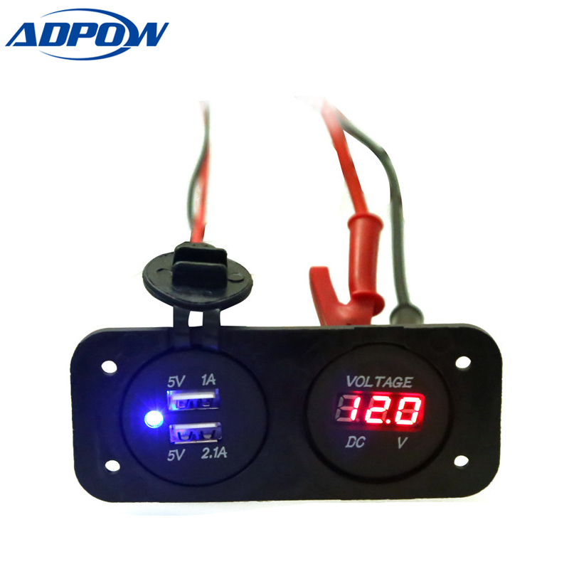 ADPOW DC <font><b>12V</b></font> Car Motorcycle Cigarette Lighter <font><b>USB</b></font> Car <font><b>Charger</b></font> <font><b>Motor</b></font> Car Digital Voltmeter Panel Power Dual <font><b>USB</b></font> Car Socket image