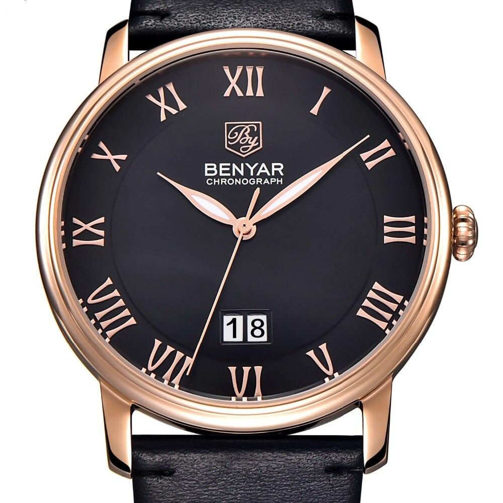 Brand Men Luxury Calendar Genuine Leather Fashion Casual quartz-watch Relogio Masculino 2017 BENYAR Mens Watches