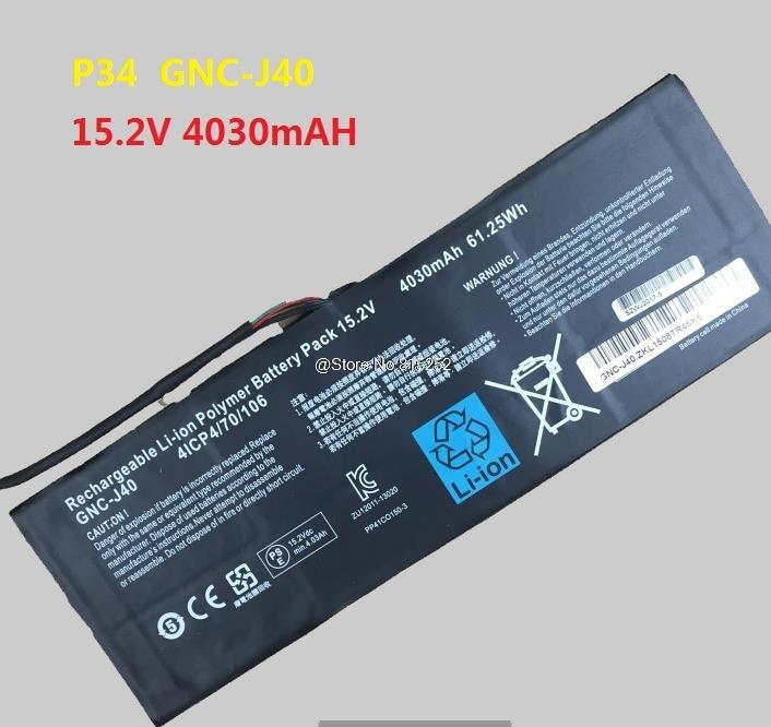 Laptop Battery For Gigabyte P34K V3 V5 P34W V3 V4 V5 P34G V2 V7 P34F V5 For XMG C504 GNC-J40 961TA013F 15.2V 4030mAh 61.25Wh New laptop keyboard for gigabyte p35g v2 p35w p35w v3 p35x v3 p35k v2 v3 u35f black fr french