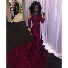 Elegant Mermaid Prom Dress Burgundy Long Sleeves Gold Lace Beading African Black Girls Formal Evening Party Gown Robe De Soiree african red prom dresses long sleeves gold appliques feathers satin formal mermaid evening dress 2019 black women robe de soiree