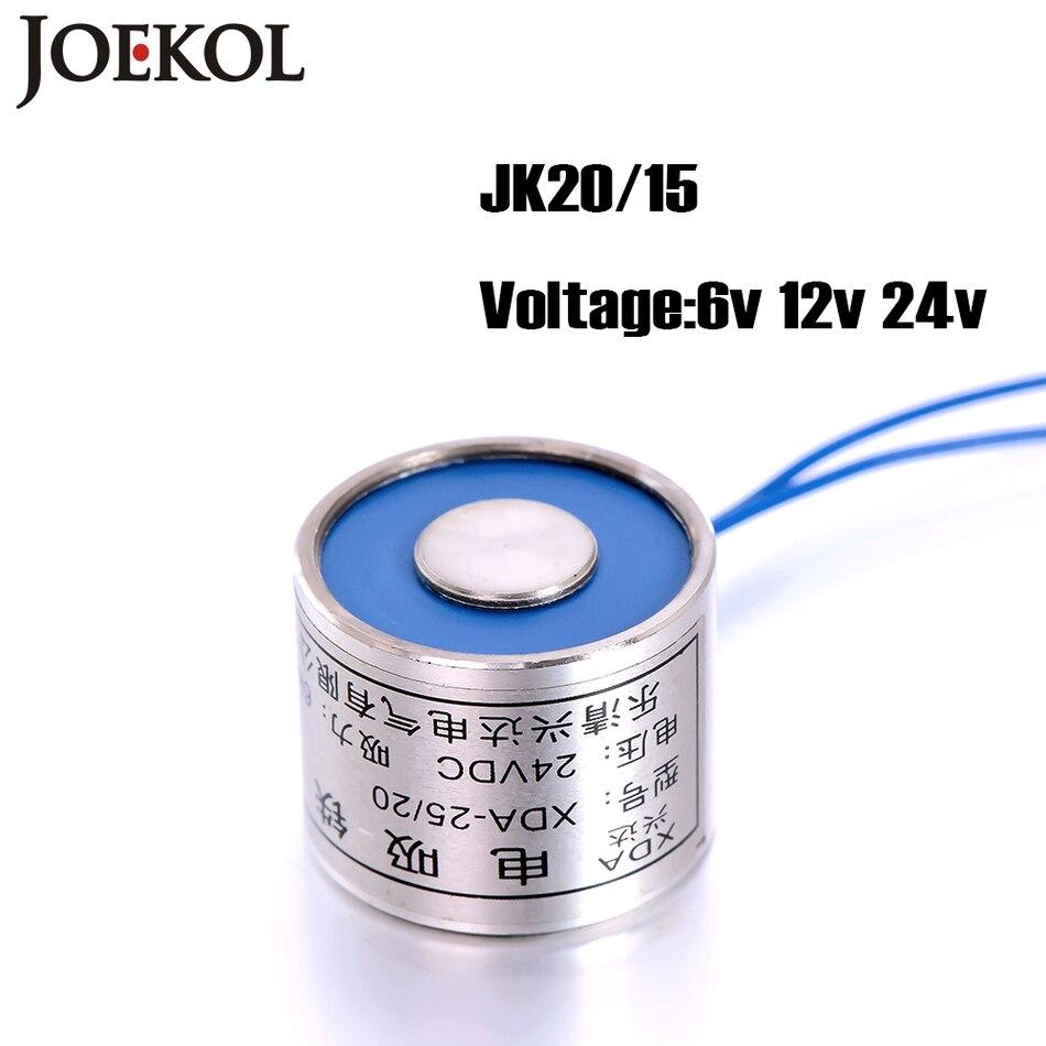 Free shipping jk20 15 dc 6v 12v 24v electromagnet lifting 2 5kg 25n solenoid sucker holding
