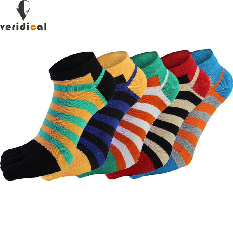 VERIDICAL 5 Pairs/lot Cotton Socks With Toes Men Boy Ankle Five Finger Socks Good Quality Striped Crew Boat Socks Fashion Summer