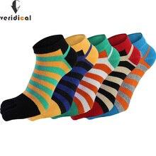 Veridical 5 paires/lot chaussettes en coton avec orteils hommes garçon cheville cinq doigts chaussettes bonne qualité rayé équipage bateau chaussettes mode été