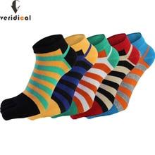 Veridical 5 pares/lote algodão meias com dedos dos pés dos homens menino tornozelo cinco dedos meias de boa qualidade listrado tripulação barco meias moda verão