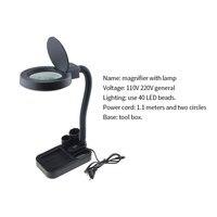 EU Plug 220V Crafts Glass Lens LED Desk Magnifier Lamp Light 5X 10X Magnifying Desktop Loupe Repairing Tools with 40 LEDs Stand