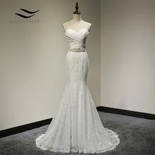 신부 웨딩 드레스 실제 사진 화이트 레이스 저렴한 인어 웨딩 드레스 기차 2018 빈티지 새시 vestido de noiva 2018 SLD W001