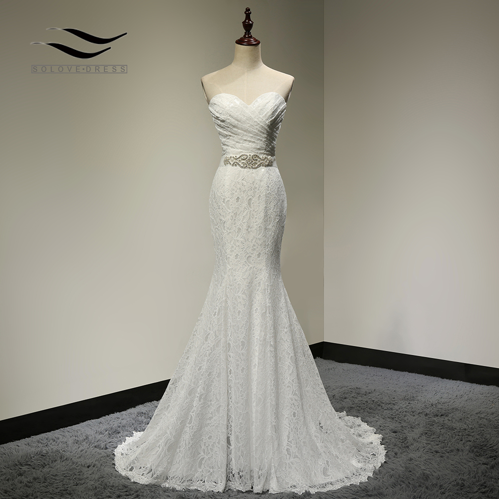 Bridal Wedding Gown Real Photos White Lace Cheap Mermaid Wedding Dress Train 2018 Vintage Sash Vestido De Noiva 2018 SLD-W001