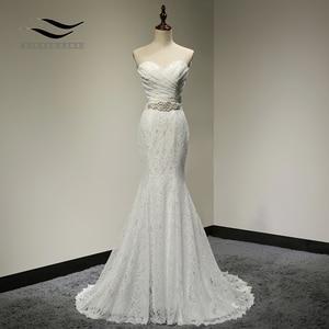 Image 1 - Bridal Wedding Gown Real Photos White Lace Cheap Mermaid Wedding Dress Train 2018 Vintage Sash vestido De noiva 2018 SLD W001