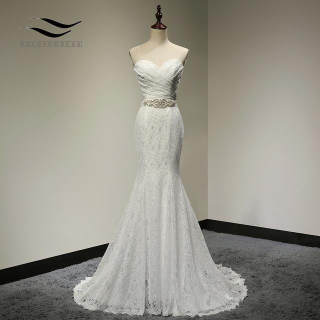 Bridal Wedding Gown Real Photos White Lace Cheap Mermaid Wedding Dress  Train 2018 Vintage Sash vestido b52d1c0bdbe9