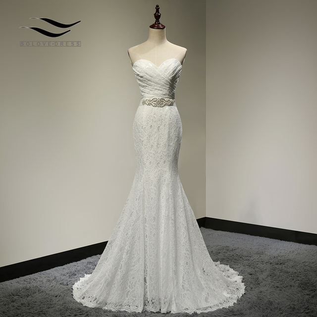 Bridal Wedding Gown Real Photos White Lace Cheap Mermaid Wedding Dress Train Vintage Sash SLD-W001