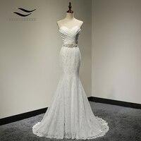 Bridal Wedding Gown Real Photos White Lace Cheap Mermaid Wedding Dress Train 2018 Vintage Sash vestido De noiva 2018 SLD W001