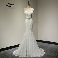 Bridal Wedding Gown Real Photos White Lace Cheap Mermaid Wedding Dress Train 2018 Vintage Sash vestido De noiva 2018 SLD W001