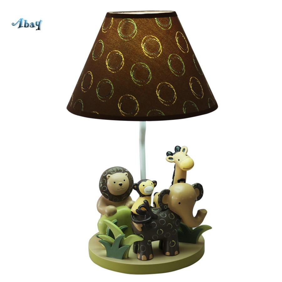 Dessin animé Lion éléphant cerf résine lampes de Table pour salon enfants chambre luminaire enfants créatifs animaux Table de chevet lampe