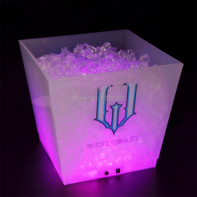 Free shipping rechargeable 12L glowing PP cube large led whisky champagne ice bucket use for home garden cube flower pots 50l set for whisky