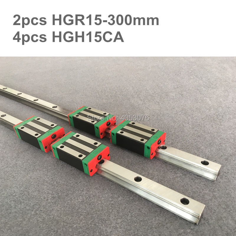 2 pcs linear guide HGR15 300mm Linear rail and 4 pcs HGH15CA linear bearing blocks for CNC parts2 pcs linear guide HGR15 300mm Linear rail and 4 pcs HGH15CA linear bearing blocks for CNC parts