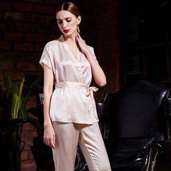 New Silk Nightwear In Summer 100% real Silk Short Sleeved Trousers Two Suit