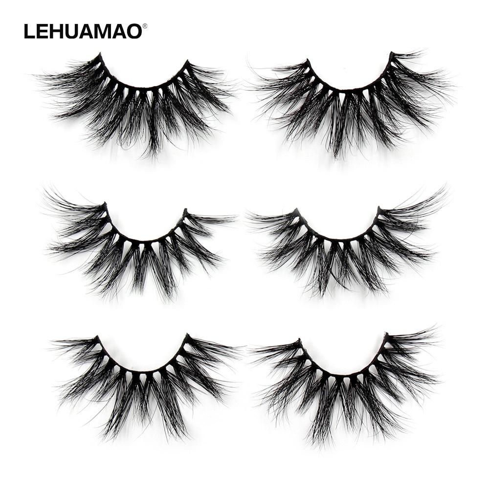 LEHUAMAO 25mm Eyelashes 5D Mink False Eyelashes Crisscross Strands Cruelty Free High Volume Mink Lashes Soft Dramatic Eye Lash