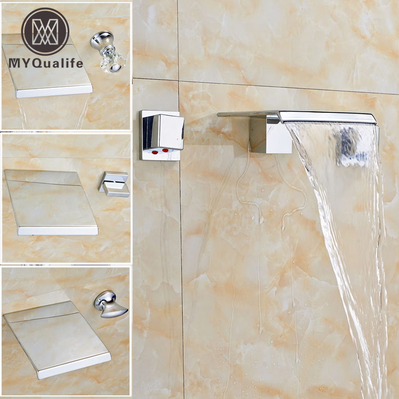 Polished Chrome Wall Mount Waterfall Bath Sink Mixer Faucet Dual Handle Bathroom Basin Hot and Cold Water Taps