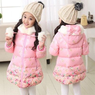 ملابس الأطفال الإناث الشتاء طفل محشو سترة طفلة الحرارية سماكة هود متوسطة طويلة معطف الأزياء الزهور سترة