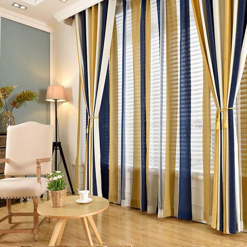 HelenCurtainModern Chenille Stripe Curtains for Living Room Yellow ...