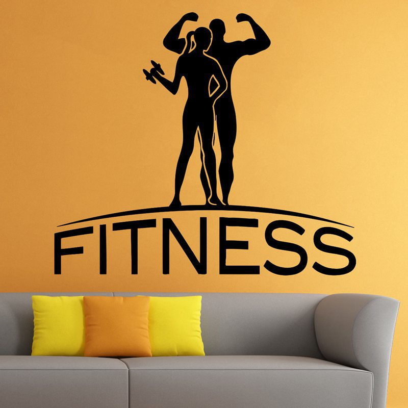 Gym Sticker Fitness Decal Body building Dumbbell Posters Vinyl Wall ...