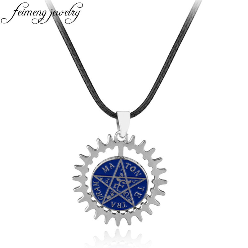 feimeng jewelry Black Butler Necklace Pentacle Pentagram Pendant Ciel Sebastian Deed Rotatable Blue Pendant Necklace For Fans