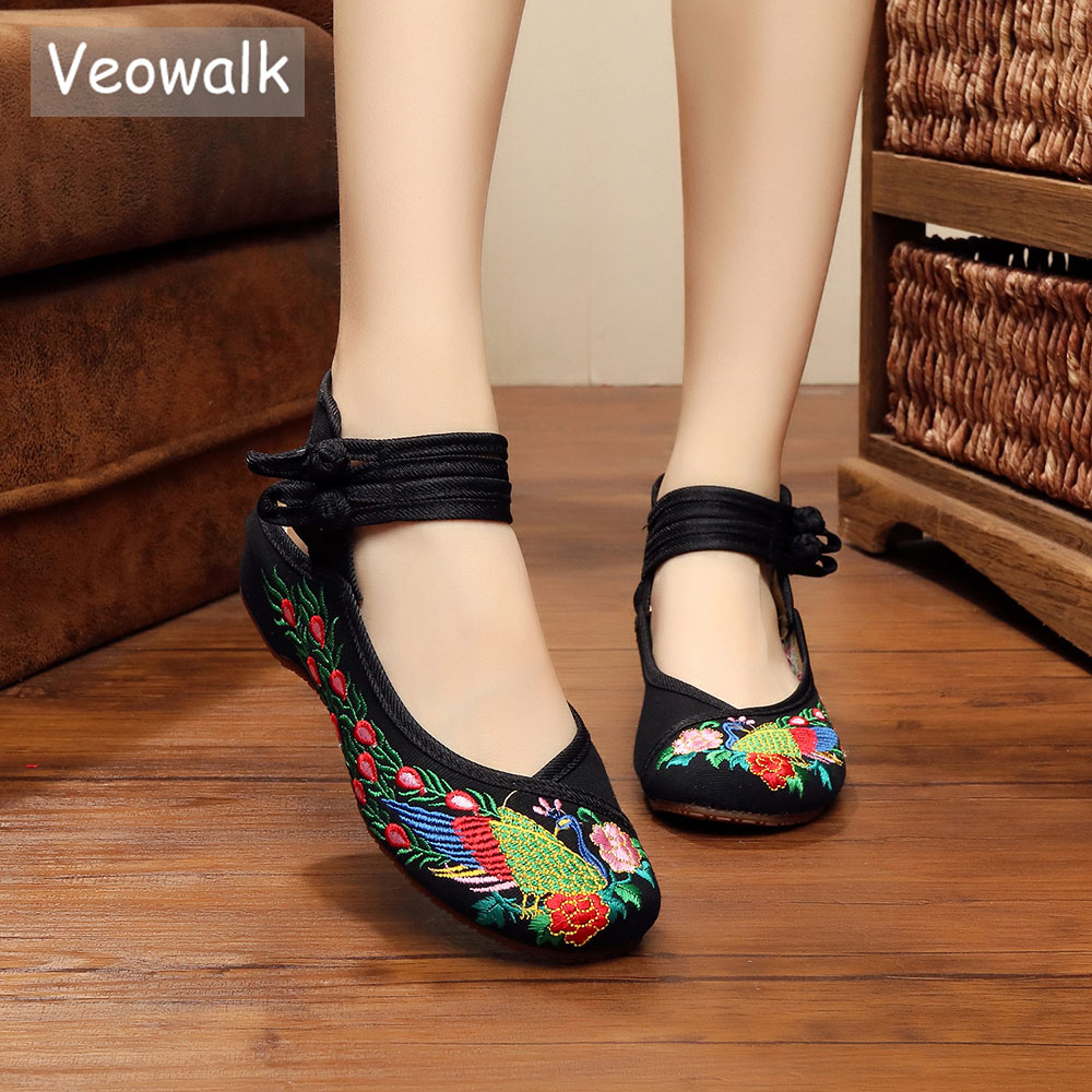 Veowalk Handmade Vintage Woman Ballet Flats Chinese Old Peking Casual Peacock Embroiderd Cloth Cotton Breathable Flat Shoes vintage women flats shoes old beijing mary jane ballet shoes peacock casual cloth flat ladies ballet shoes plus size 43