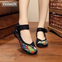 Veowalk artesanal mulher estilintes apartamentos vintage chinês pavão bordado algodão sem encosto sapatos verão confortável