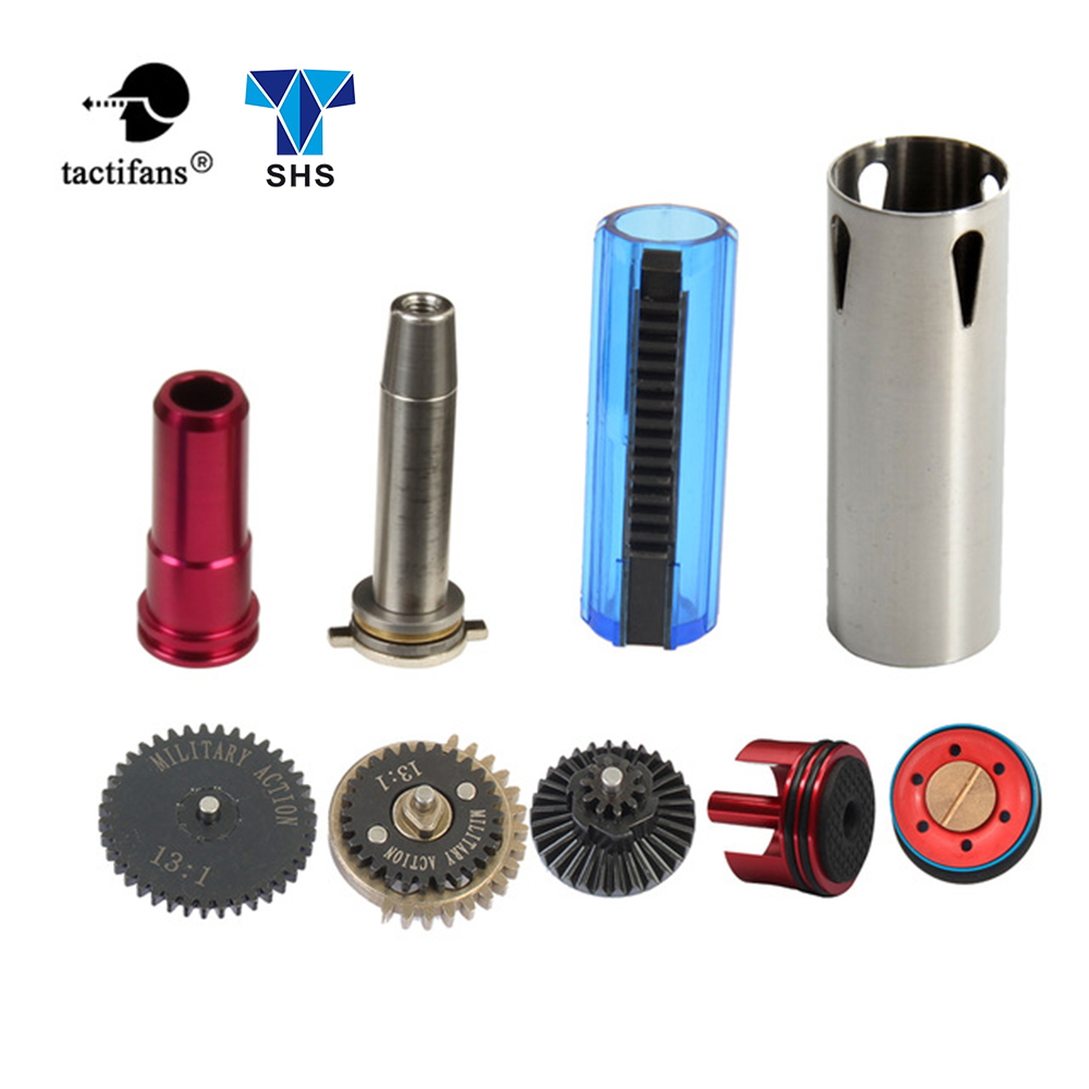 TACTIFANS 13:1 Gear Set, Cylinder Piston/head, Spring Guide, Nozzle, Clear 14 Teeth Piston Inner Barrel 363-460mm  AK M4 AEG