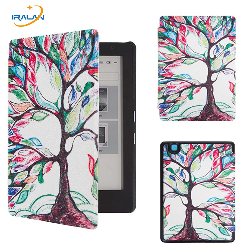 2016 New Ultra thin PU leather Filp Stand Cover Case for 2016 Kobo Aura Edition 2 6'' Ereader Protective Skin shell+Stylus+film