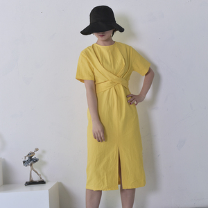 Image 3 - [GUTU] 2017 קיץ החדש בצבע האחיד הרופף סביב הצוואר טבעי מותן וינטג פיצול נשים אופנה להתלבש E4100 המזלג