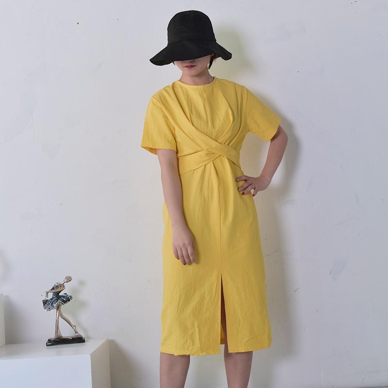 Image 3 - LANMREM 2020 Summer  New Solid Color Loose Round Neck Natural Waist Vintage Split The Fork Fashion Women Dress E4100fashion women dresswomen dresswomen fashion dress -