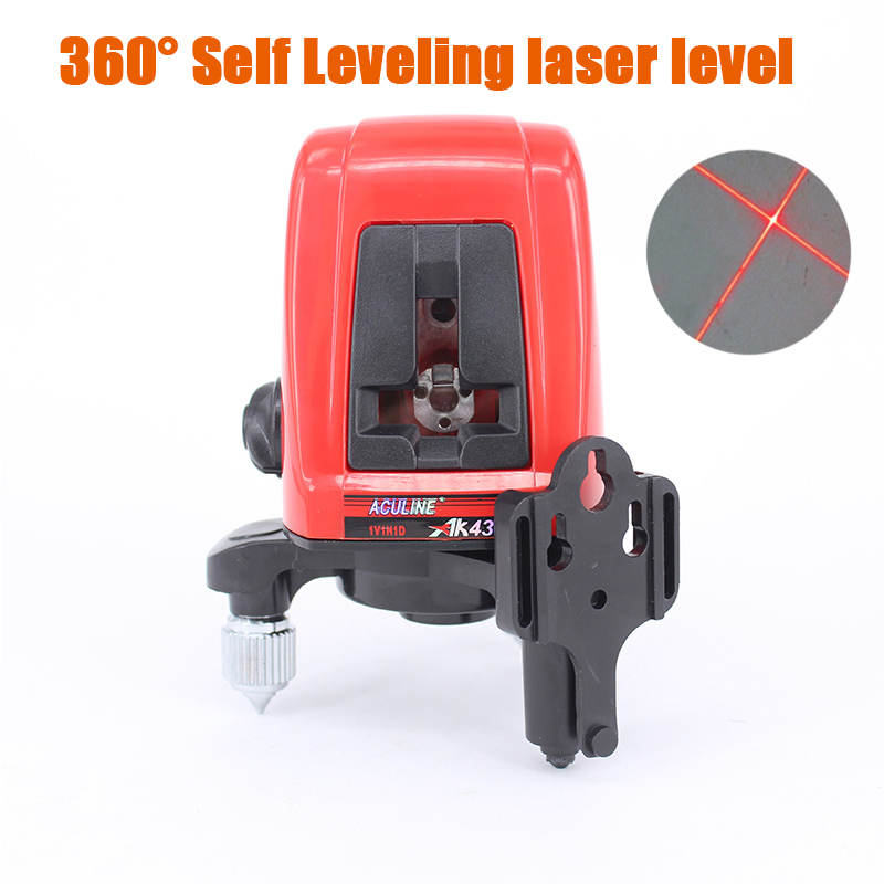 AK435 Mini Portable Laser Level 360 Degree Self-leveling Cross nivel Laser Leveler Laser Line 2 Line 1 Dot Horizonatal Vertical 1pcs ak435 360 degree self leveling cross laser level 2 line 1 point rotary horizontal vertical red laser levels cross laser