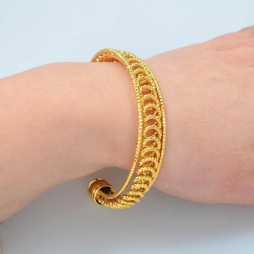 Anniyo 24K дубайские браслеты-манжеты ювелирные изделия для матери эфиопские браслеты для женщин арабские Африканские свадебные украшения вечерние подарки #171806