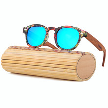 2017 Wood Sunglasses Women Handmade Round Bamboo Sun Glasses For Men Polarized Mirror Coating Lenses Eyewear gafas de sol LS5002